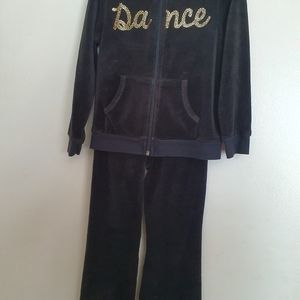 Girl's Dance Velvet Zip Hoodie and Pants Sz 4T